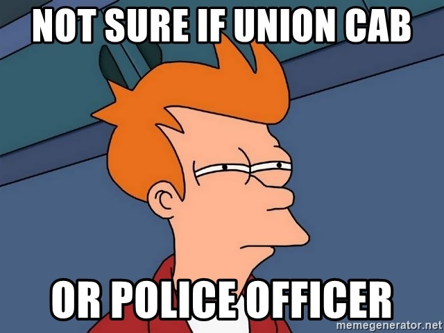 Futurama Fry - not sure if union cab or police officer
