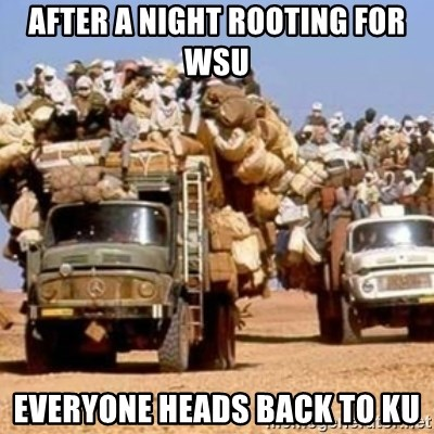 BandWagon - AfTER A NIGHT ROOTING FOR WSU EVERYONE HEADS BACK TO KU