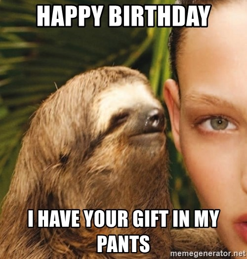 The Rape Sloth - happy birthday I have your gift in my pants