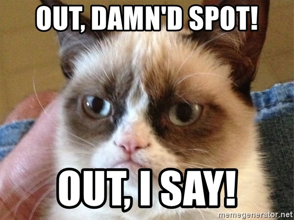 Angry Cat Meme - OUT, damn'd spot! out, i say!