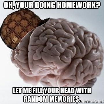 Scumbag Brain - Oh, your doing homework? let me fill your head with random memories.