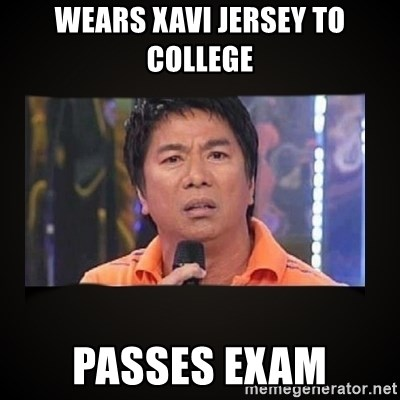Willie Revillame me - WEARS XAVI JERSEY TO COLLEGE PASSES EXAM