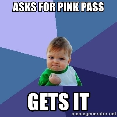 Success Kid - Asks for pink pass GetS it