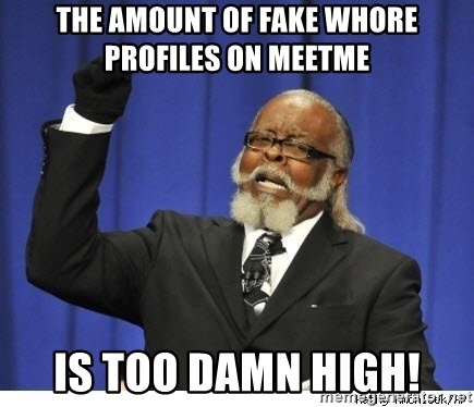 The tolerance is to damn high! - the amount of fake whore profiles on meetme is too damn high!