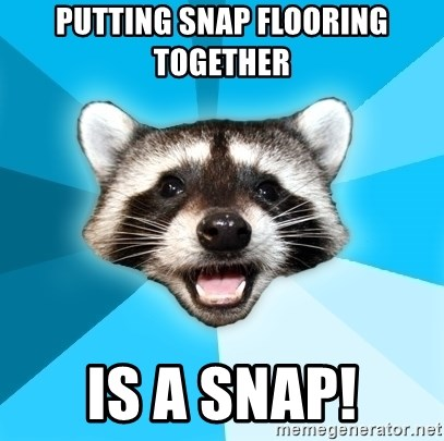 Lame Pun Coon - PUTTING SNAP FLOORING TOGETHER  IS A SNAP!