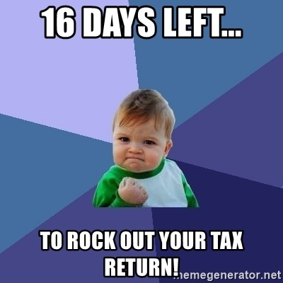 Success Kid - 16 days left... to rock out your tax return!