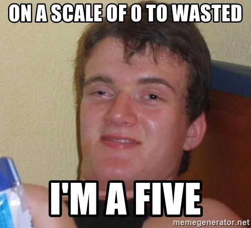 high/drunk guy - On a scale of 0 to wasted I'm a five