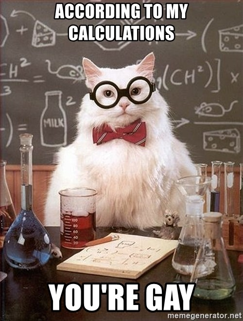 Science Cat - ACCORDING TO MY CALCULATIONS YOU'RE GAY