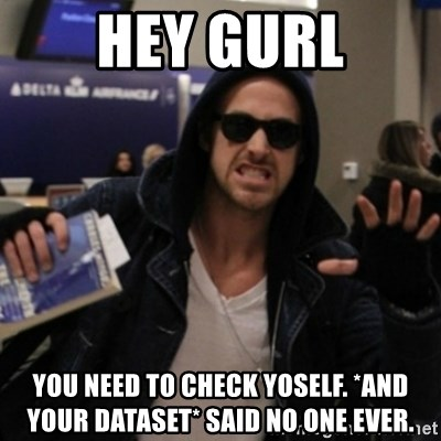 Manarchist Ryan Gosling - hey gurl you need to check yoself. *and your dataset* said no one ever.