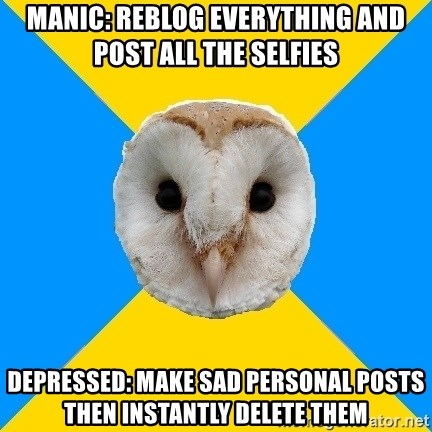 Bipolar Owl - Manic: Reblog everything and post all the selfies Depressed: Make sad personal posts then instantly delete them
