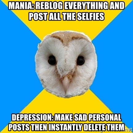 Bipolar Owl - Mania: Reblog everything and post all the selfies Depression: Make sad personal posts then instantly delete them