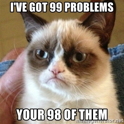 Grumpy Cat  - i've got 99 problems your 98 of them