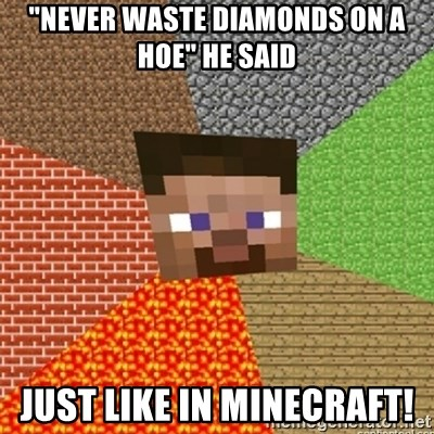 "Minecraft Steve - ""Never waste diamonds on a hoe"" He said just like in minecraft!"