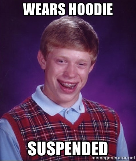 Bad Luck Brian - WEARS HOODIE SUSPENDED
