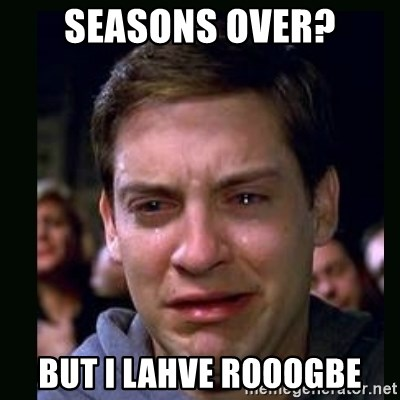 crying peter parker - seasons over? but i lahve rooogbe