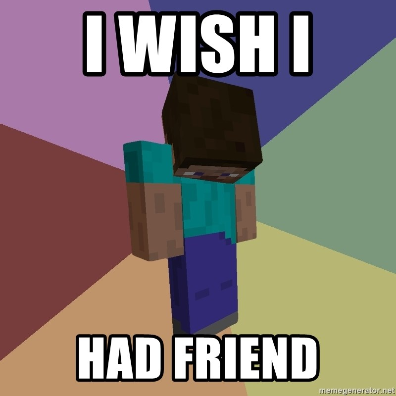 Depressed Minecraft Guy - I WISH I  HAD FRIEND