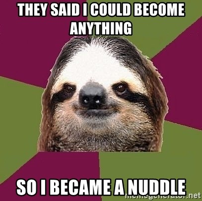 Just-Lazy-Sloth - THEY SAID I COULD BECOME ANYTHING  SO I BECAME A NUDDLE