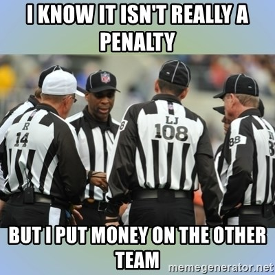 NFL Ref Meeting - I know it isn't really a penalty but I put money on the other team