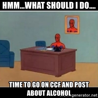 Spiderman office - Hmm...What should I do.... Time to go on CCF and post about Alcohol