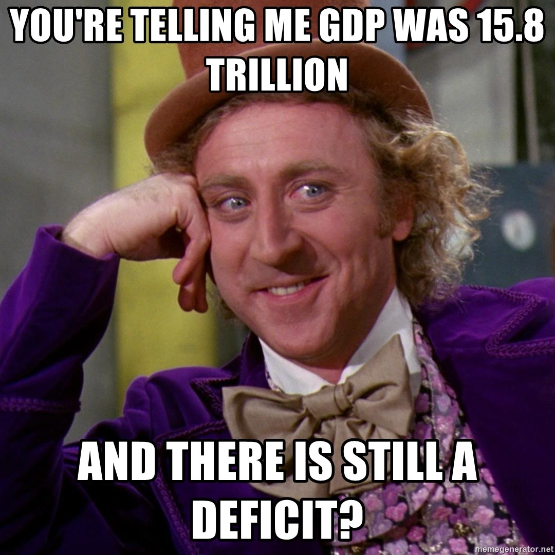Willy Wonka - You're telling me GDP was 15.8 trillion and there is still a deficit?