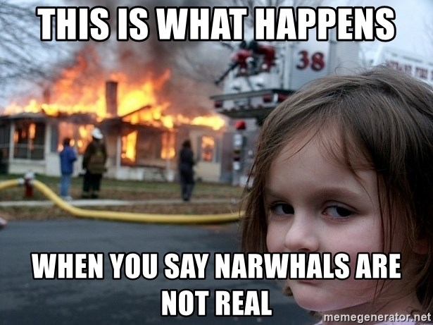 Disaster Girl - this is what happens when you say narwhals are not real