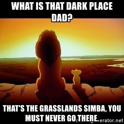 Simba - What is that Dark Place Dad? That's The grasslands Simba, you must never go there.