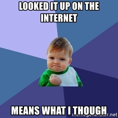 Success Kid - Looked it up on the Internet means what I though