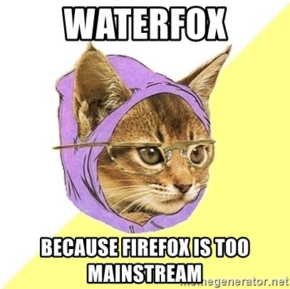 Hipster Kitty - Waterfox Because firefox is too mainstream