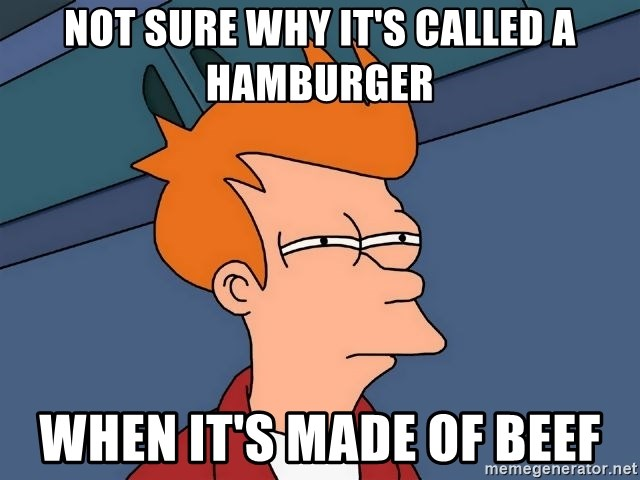 Futurama Fry - Not sure why it's called a hamburger when it's made of beef