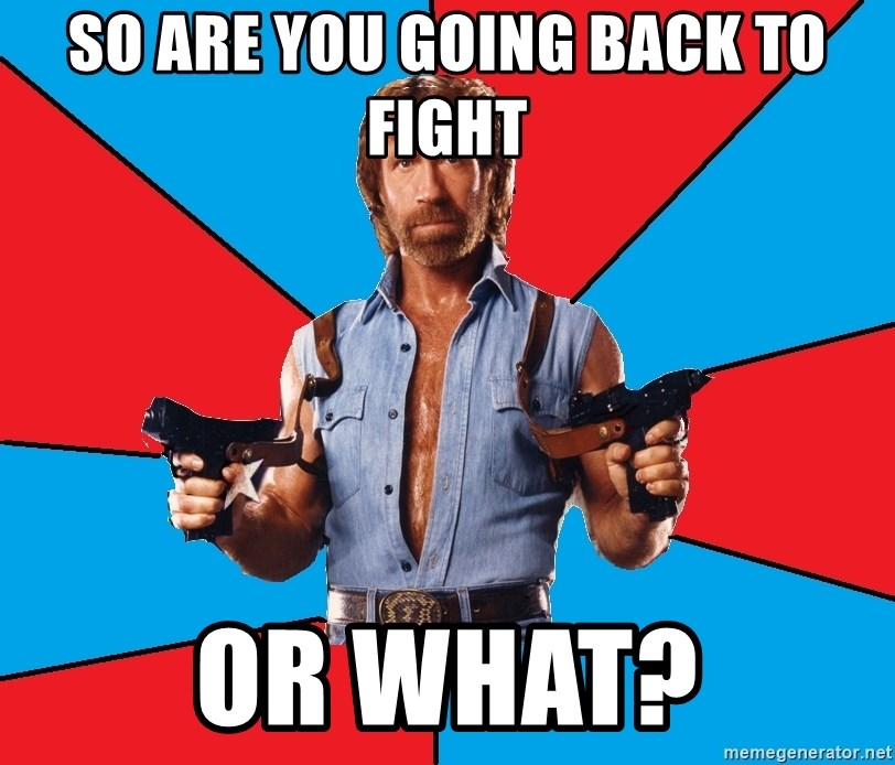 Chuck Norris  - So are you going back to fight or what?
