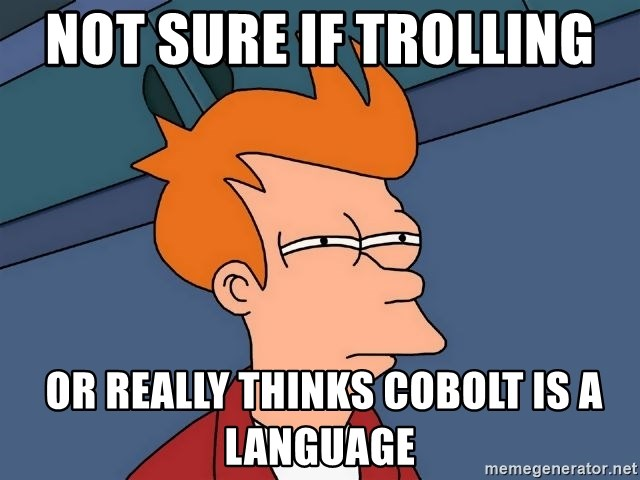 Futurama Fry - Not sure if trolling   or really thinks cobolt is a language