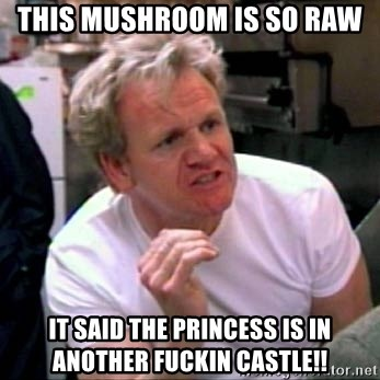 Gordon Ramsay - This mushroom is so raw it said the princess is in another fuckin castle!!