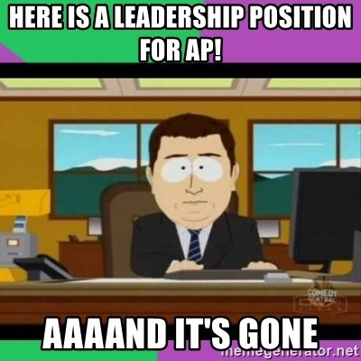 south park it's gone - Here Is a leadership position for ap! aaaand it's gone
