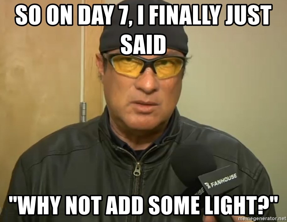 """Steven Seagal Mma - So on day 7, I finally just said """"Why not add some light?"""""""