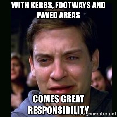 crying peter parker - With kErbs, footWays and paved areas Comes great responsibility