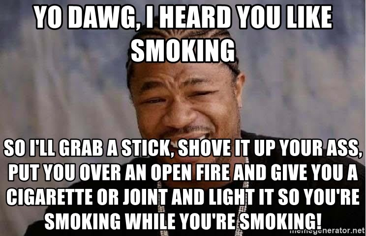 Yo Dawg - Yo dawg, I heard you like smoking So i'll grab a stick, shove it up your ass, put you over an open fire and give you a cigarette or joint and light it so you're smoking while you're smoking!