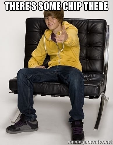 Justin Bieber Pointing - There's some chip there
