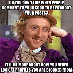 Willy Wonka - Oh you don't like when people comment to your soon to be ex about your posts? Tell me more about how you never look at profiles you are blocked from
