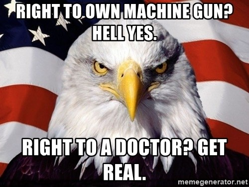 American Pride Eagle - RIght to own machine gun? Hell yes. Right to a doctor? Get real.