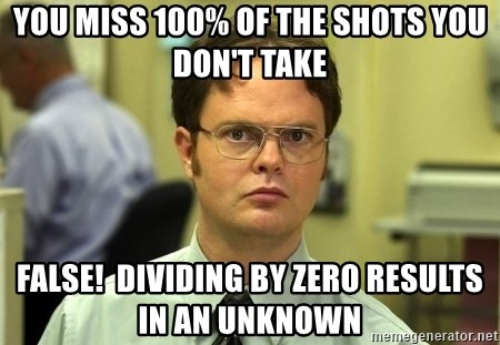 Dwight Schrute - You miss 100% of the shots you don't take false!  dividing by zero results in an unknown