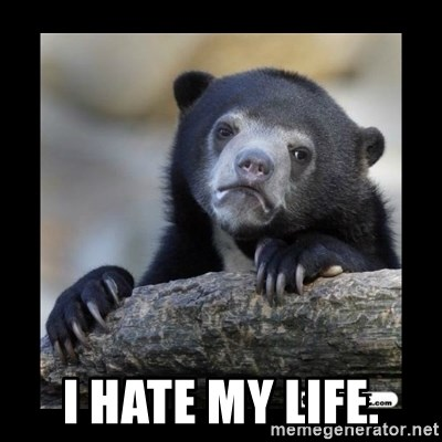 sad bear -  I hate my life.