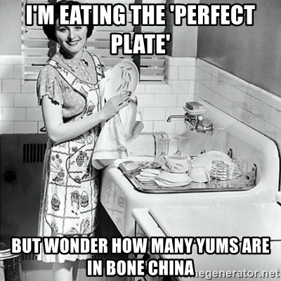50s Housewife - I'm eating the 'perfect plate' But wonder how many yums arE in Bone china