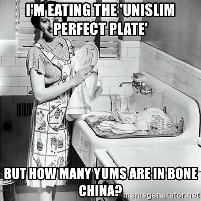 50s Housewife - I'm eating the 'UniSlim perfect plate' But how many Yums aRe in bone china?