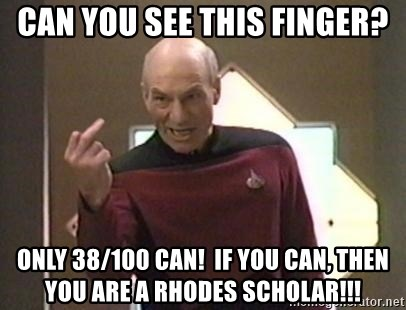 Picard Finger - Can you see this finger? only 38/100 can!  If you can, then you are a rhodes scholar!!!