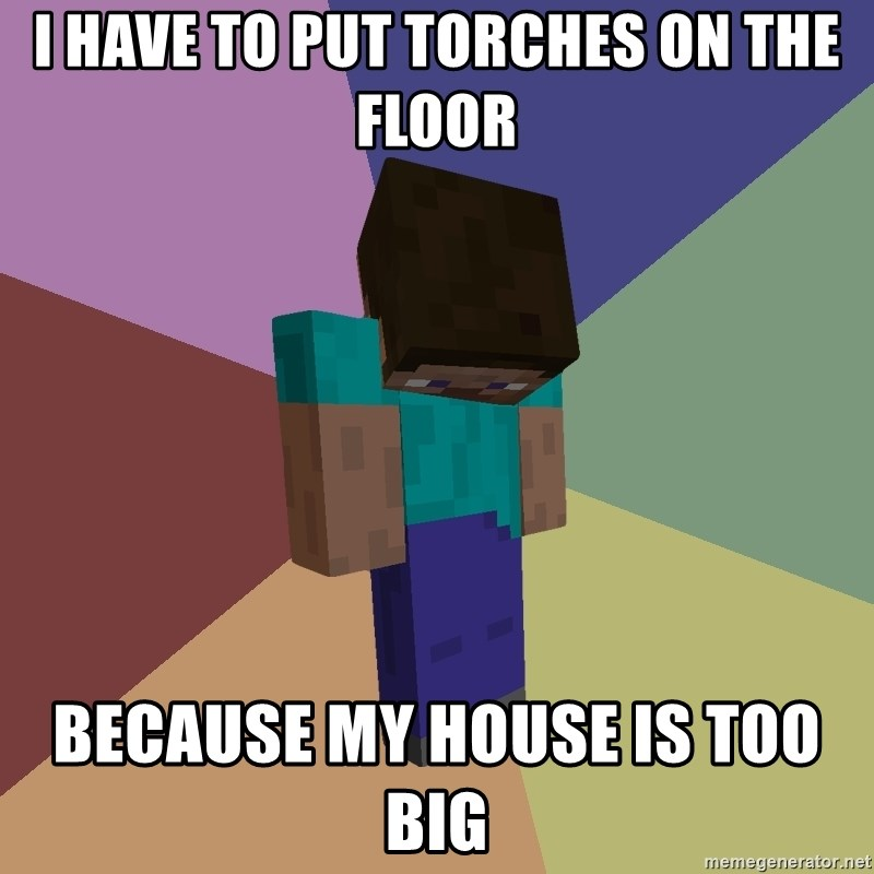 Depressed Minecraft Guy - i have to put torches on the floor because my house is too big