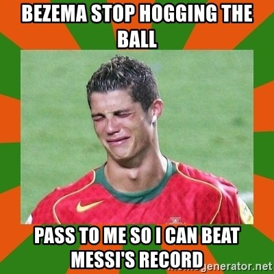 cristianoronaldo - bezema stop hogging the ball pass to me so i can beat messi's record