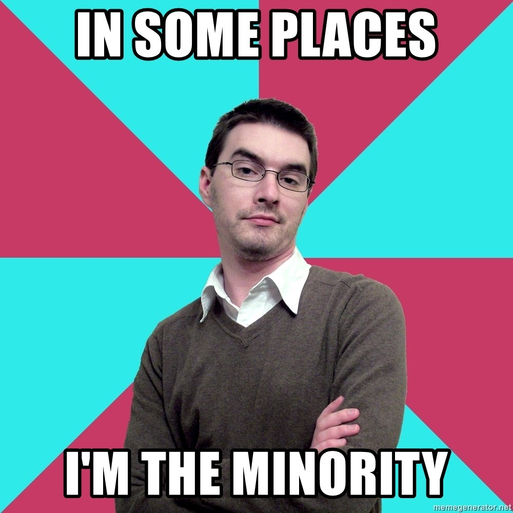 Privilege Denying Dude - in some places i'm the minority