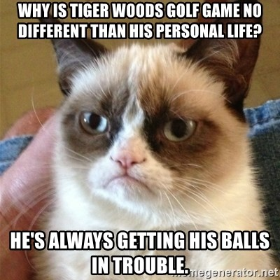 Grumpy Cat  - Why is tiger Woods golf game no different than his personal life? He's always getting his balls in trouble.
