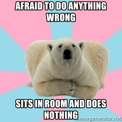 Perfection Polar Bear - Afraid to do anything wrong sits in room and does nothing