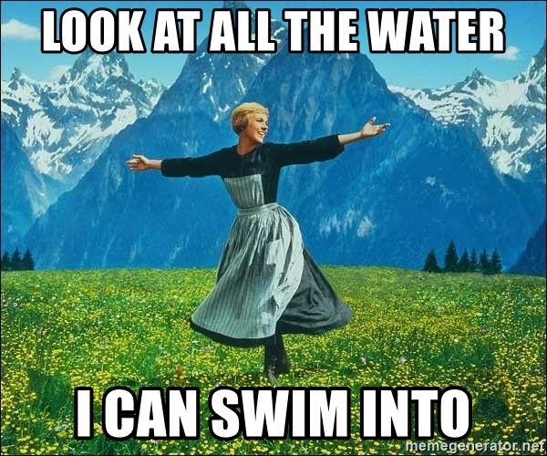 Look at all the things - look at all the water i can swim into